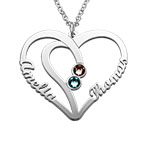 シルバーカップルの誕生石ネックレス - 真にあなたのコレクション