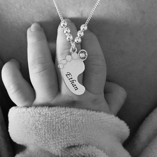 ママジュエリー赤ちゃんの足ネックレス - 7