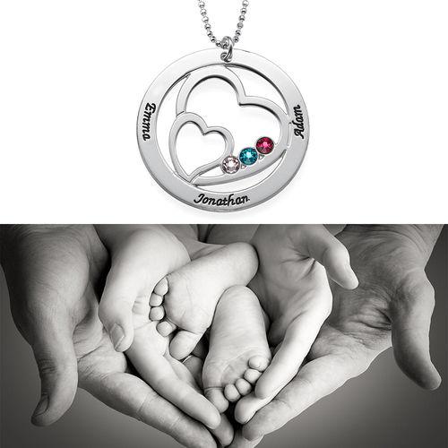 ママのためのハートインハート誕生石ネックレス - 2