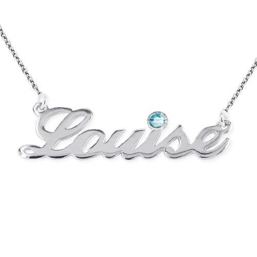 ダイヤモンドスタイルのシルバーネームネックレス