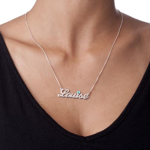 ダイヤモンドスタイルのシルバーネームネックレス - 1